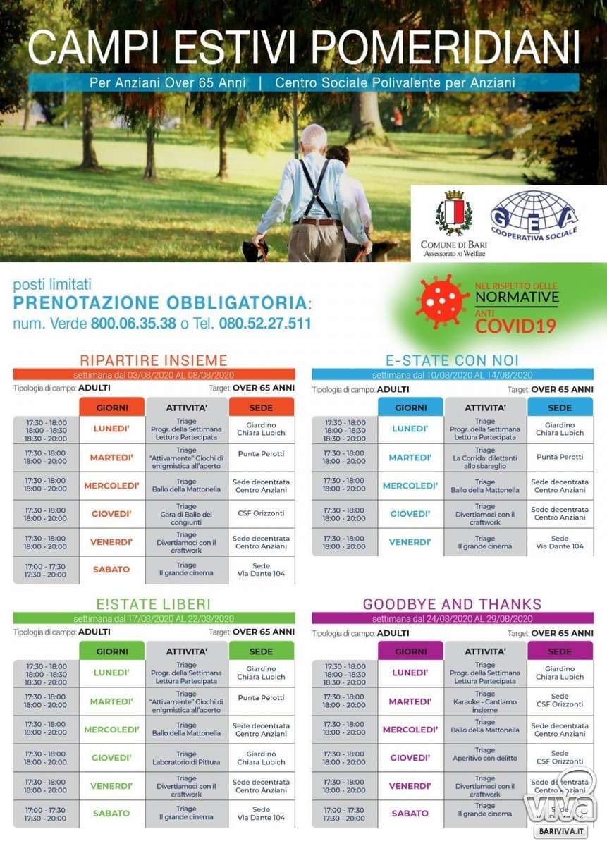campi estivi gratuiti per gli anziani della citta IL PROGRAMMA