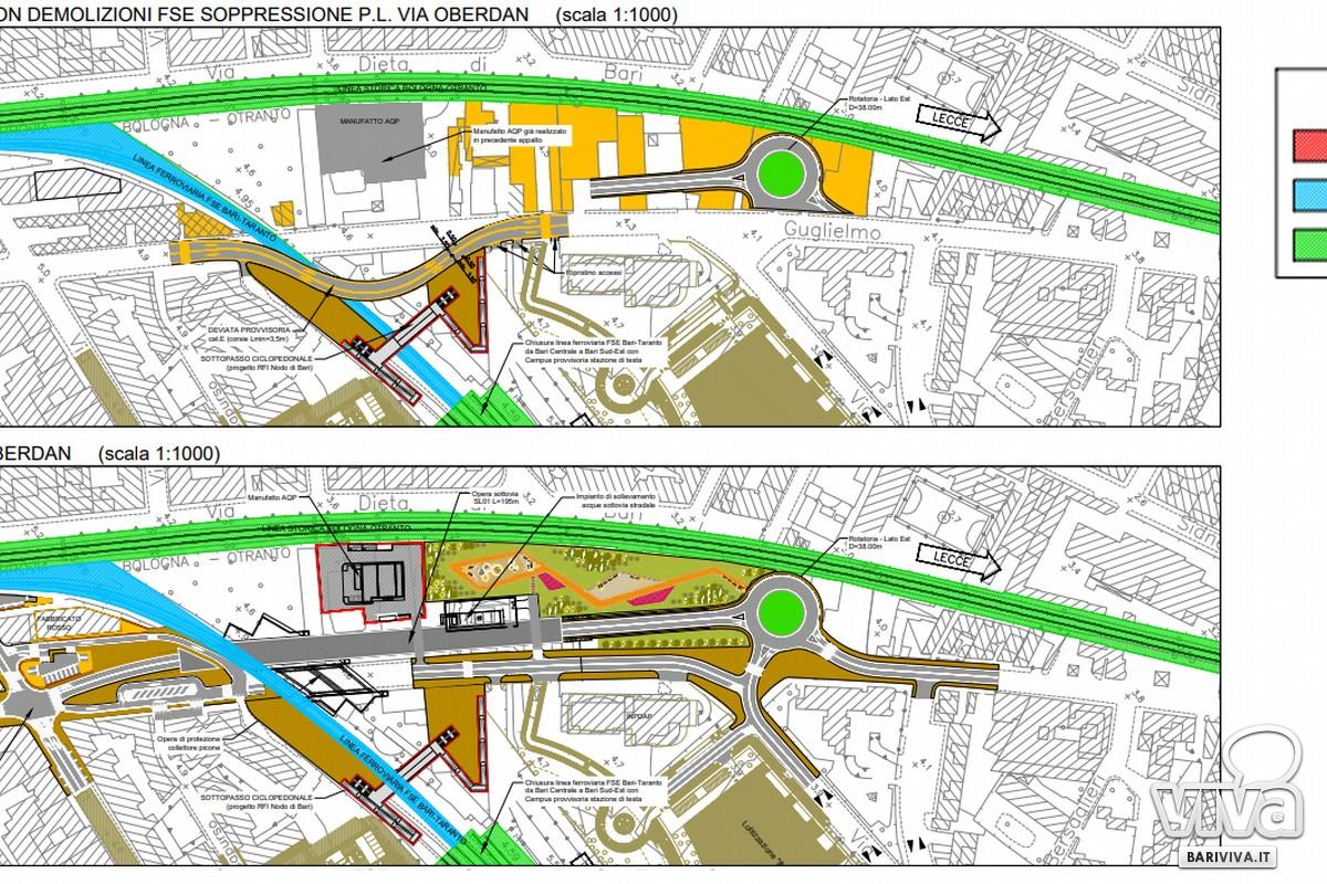 nuova viabilita alternativa al passaggio a livello in via Oberdan planimetria