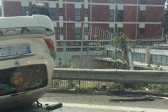 L'auto ribaltata a Palese