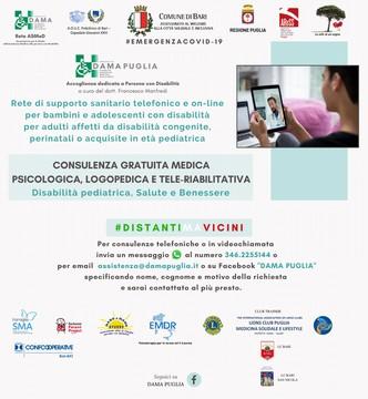 attivo numero per consulenze mediche telefoniche rivolte a pazienti con disabilita locandina