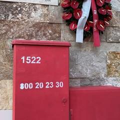 Giornata internazionale contro la violenza sulle donne via Santa Scorese armadietti rossi con n antiviolenza