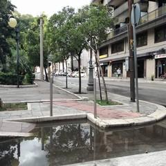 Gli scivoli allagati in piazza Moro