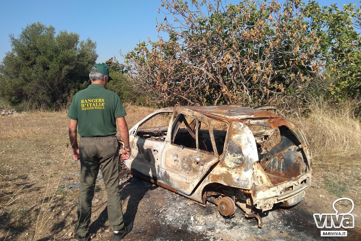 La carcassa di auto a Lama Balice