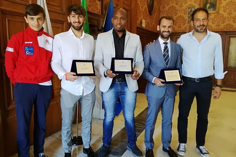 conferenza stampa premiazione squadra scherma Bari