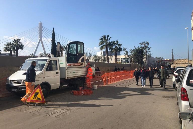 nuovo tronco di fogna bianca in via Babudri al Libert oggi il sopralluogo