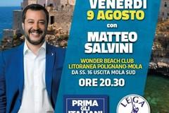 Salvini a Bari, stavolta al lido