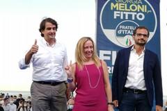 Regionali, Giorgia Meloni a Bari per Fitto: «Vincere in Puglia per mandare a casa Conte»