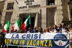 Mercatone Uno, sit-in di Fratelli d'Italia a Roma. Gemmato: «Di Maio incapace di gestire la crisi»