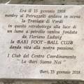 Sostituita la targa per i 110 anni del Bari Calcio con una senza errori
