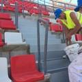 Stadio San Nicola, le vie di fuga della Est si colorano di grigio