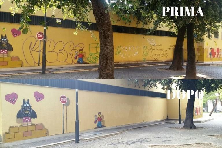 Il murale prima e dopo lintervento