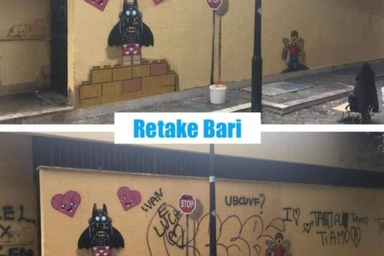 Il murale prima e dopo lintervento a settembre