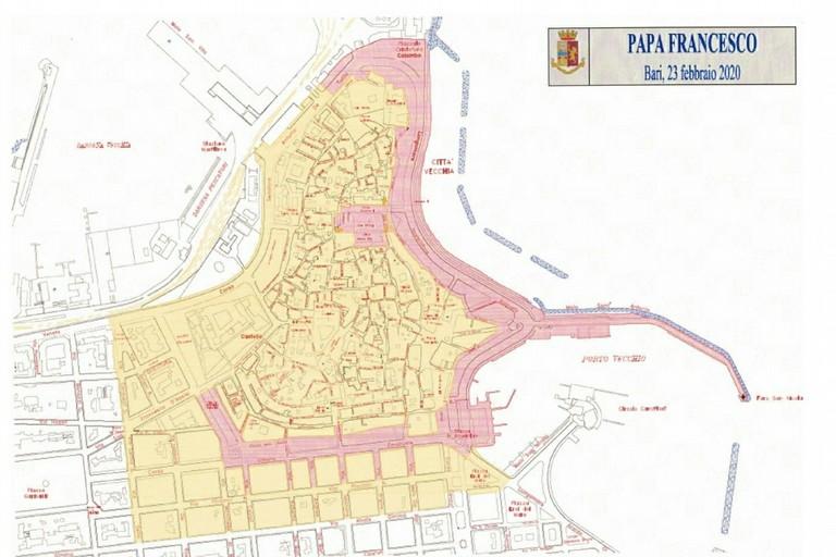 La mappa dell'area interessata dalla visita di Papa Francesco