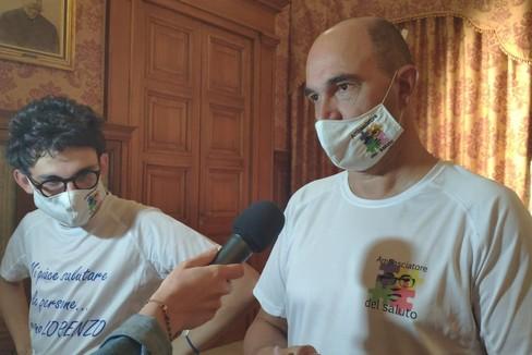 Franco Cardone e Francesca Bottalico stamattina a Palazzo di Città