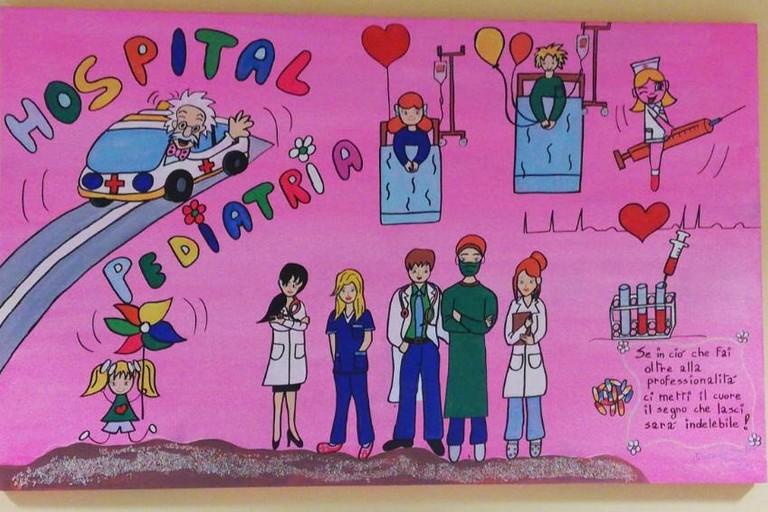 Uno dei dipinti della pediatria del San Paolo