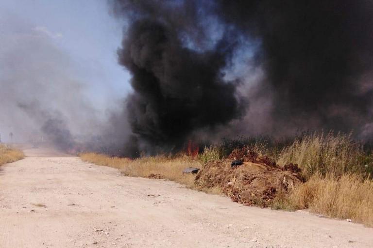 incendio rifiuti san girolamo